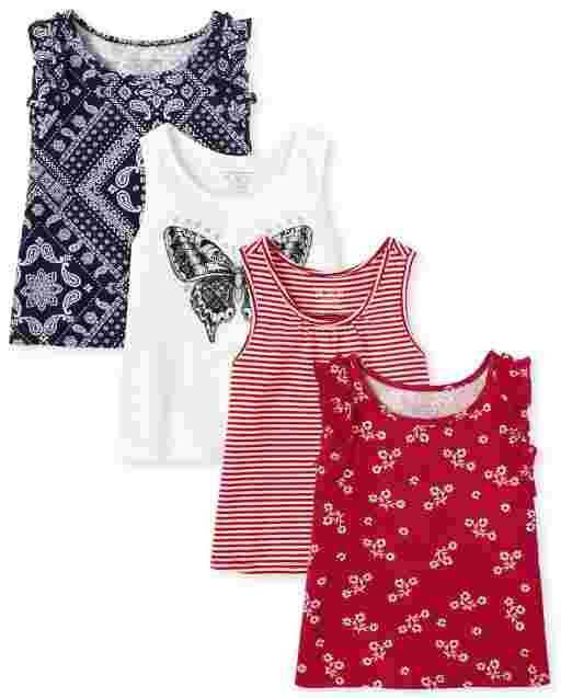 Toddler Girls Mix And Match Sleeveless Print Ruffle Tank Top 4-Pack