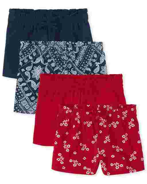 Toddler Girls Mix And Match Solid Floral Diamond Print Knit Swing Shorts 4-Pack