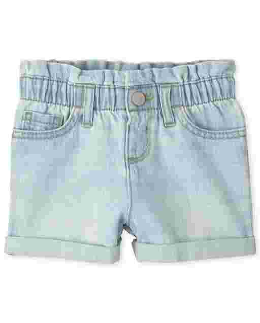 Baby And Toddler Girls Denim Paper Bag Waist Shorts