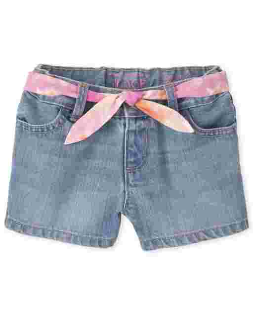 Baby And Toddler Girls Belted Denim Shortie Shorts
