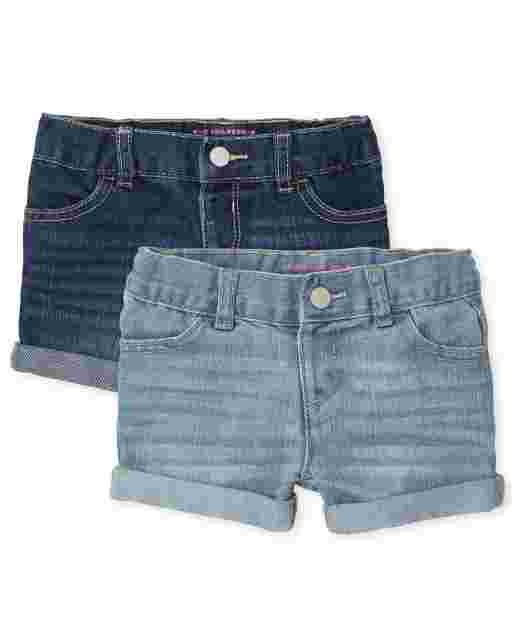 Toddler Girls Roll Cuff Denim Shortie Shorts 2-Pack