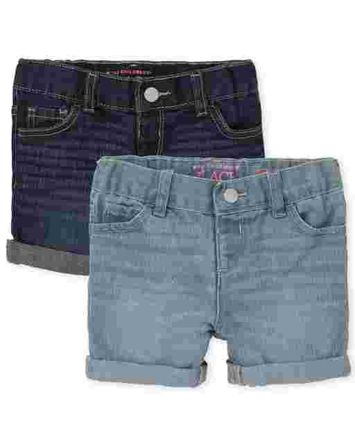 Toddler Girls Roll Cuff Denim Midi Shorts 2-Pack