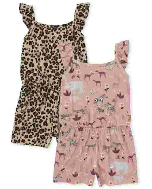 Toddler Girls Sleeveless Print Knit Ruffle Romper 2-Pack