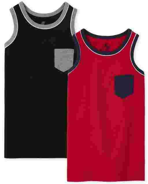 Pack de 2 camisetas sin mangas con bolsillo y sin mangas para niños
