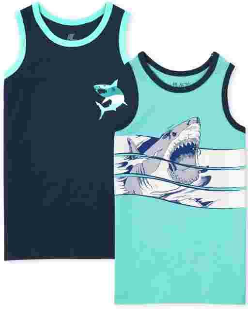 Pack de 2 camisetas sin mangas con estampado de tiburón sin mangas Mix And Match para niños