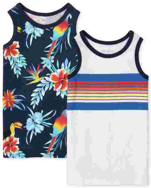 Boys Mix And Match Sleeveless Tropical Toucan Print And Striped Tank Top 2-Pack