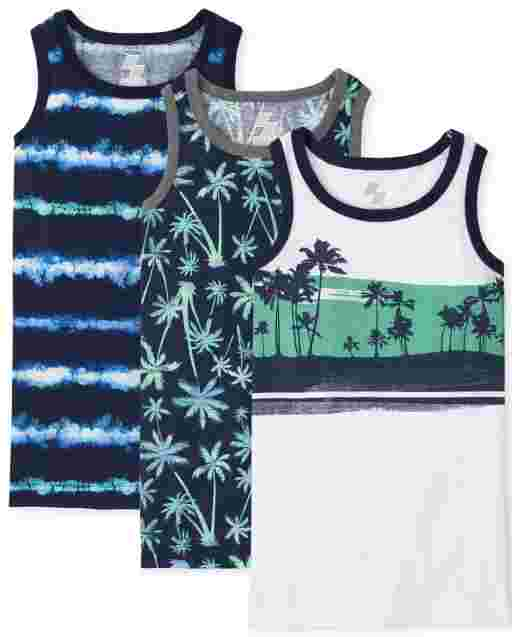 Boys Sleeveless Palm Tree Tank Top 3-Pack