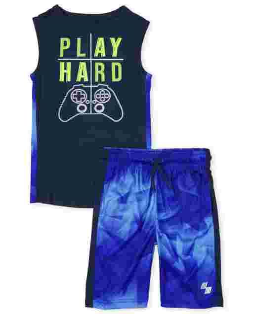 Boys PLACE Sport Sleeveless Muscle Tank Top And Knit Basketball Shorts 2-Piece Performance Set