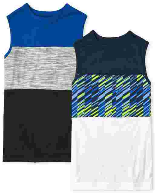 Boys Mix And Match Sleeveless Colorblock Performance Muscle Tank Top 2-Pack