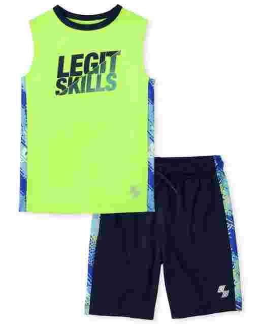 Boys PLACE Sport Sleeveless 'Legit Skills' Graphic Tank Top And Print Side Stripe Knit Basketball Shorts 2-Piece Performance Set