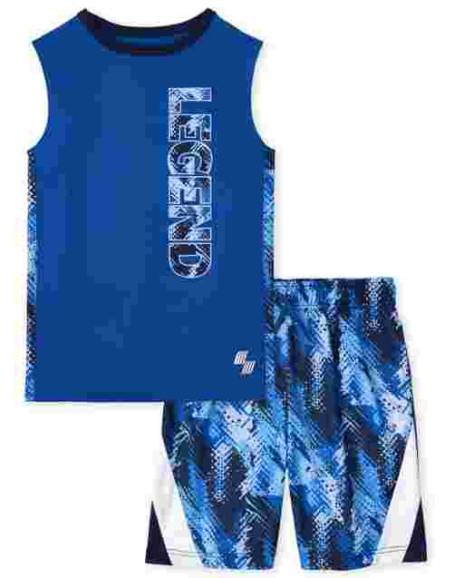 Boys PLACE Sport Sleeveless 'Legend' Graphic Tank Top And Print Knit Basketball Shorts 2-Piece Performance Set