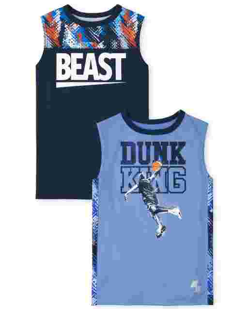 Boys PLACE Sport sin mangas ' Beast ' y ' Dunk King ' Sports Graphic Performance Camiseta sin mangas con músculos, paquete de 2