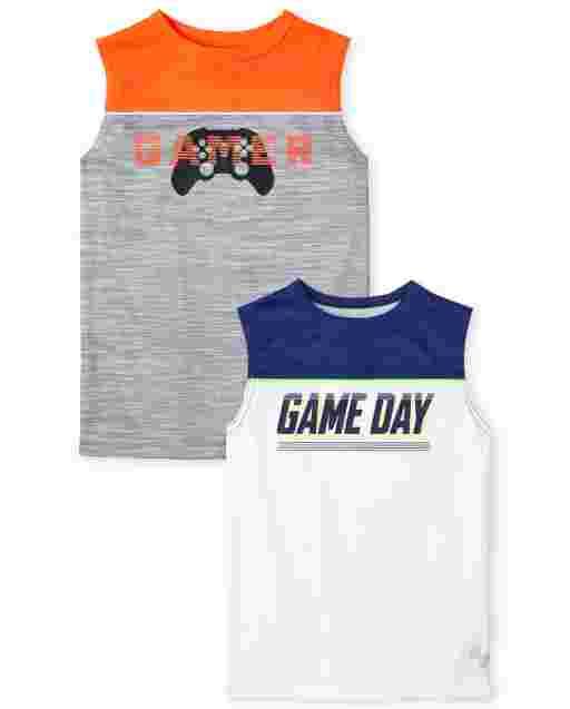 Pack de 2 camisetas sin mangas deportivas sin mangas de rendimiento deportivo PLACE para niños