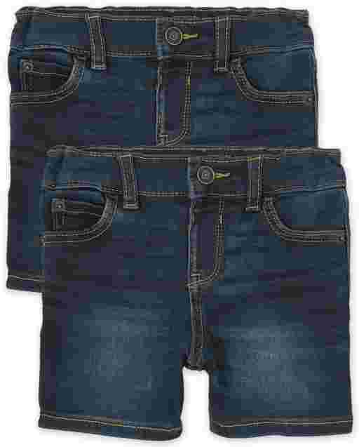 Baby And Toddler Boys Super-Soft Stretch Denim Shorts 2-Pack