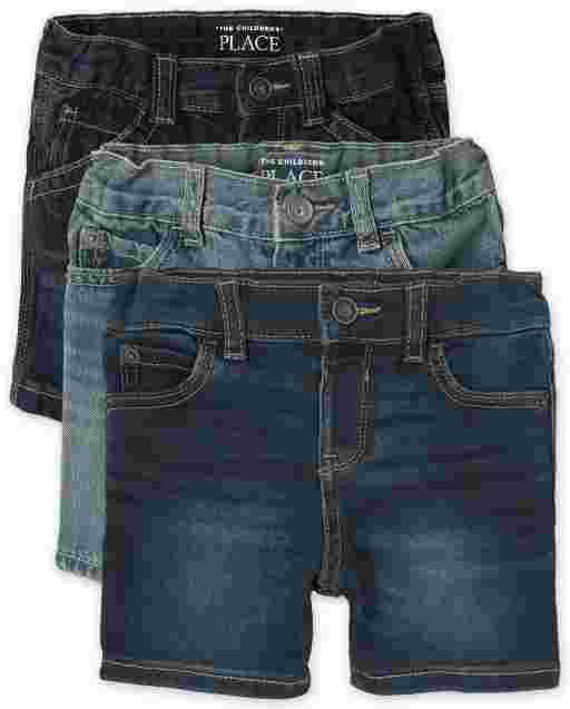 Baby And Toddler Boys Five-Pocket And Super-Soft Stretch Denim Shorts 3-Pack