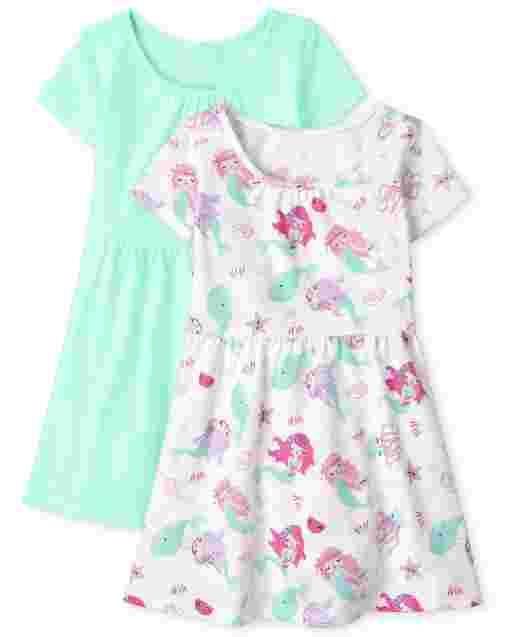 Toddler Girls Short Sleeve Print And Solid Skater Dress 2-Pack