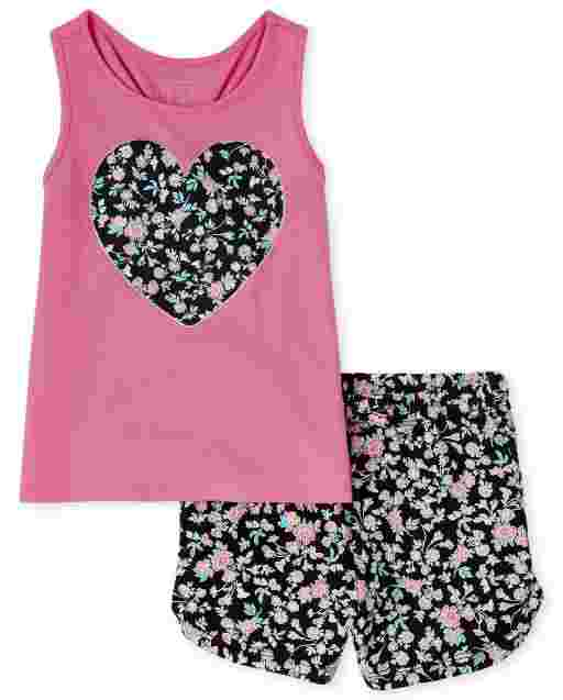 Toddler Girls Sleeveless Heart Knit Tank Top And Floral Print Knit Shorts 2-Piece Set