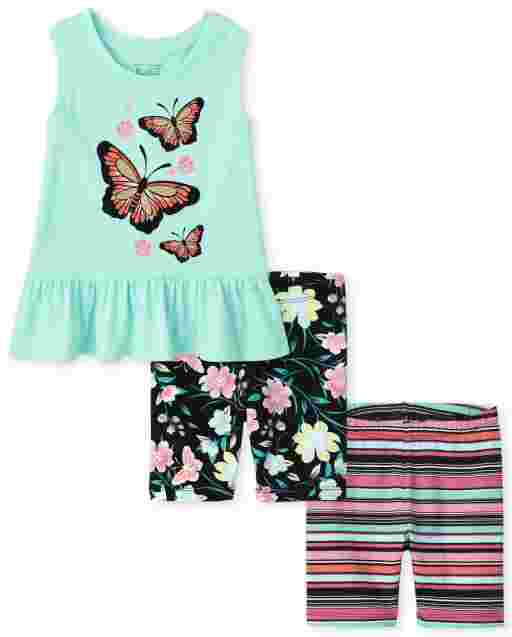 Toddler Girls Mix And Match Sleeveless Butterfly Graphic Peplum Top Butterfly Print Bike Shorts And Striped Bike Shorts 3-Piece Set