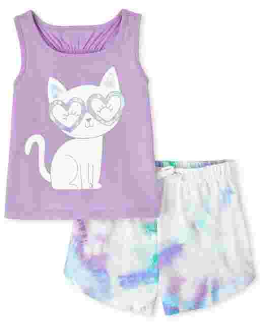 Toddler Girls Sleeveless Cat Graphic Racerback Tank Top And Tie Dye Knit Shorts 2-Piece Set