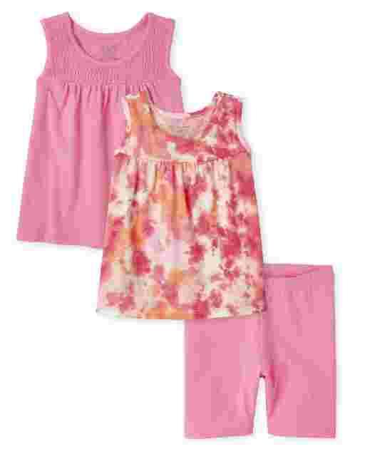 Toddler Girls Mix And Match Sleeveless Swing Tops And Bike Shorts 3-Piece Set