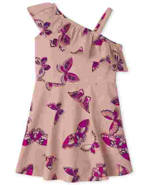 Baby And Toddler Girls Sleeveless Butterfly Print Knit One Shoulder Dress