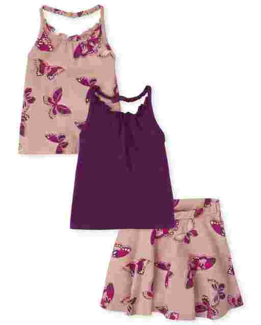 Toddler Girls Sleeveless Solid And Butterfly Halter Top And Butterfly Knit Skort 3-Piece Set