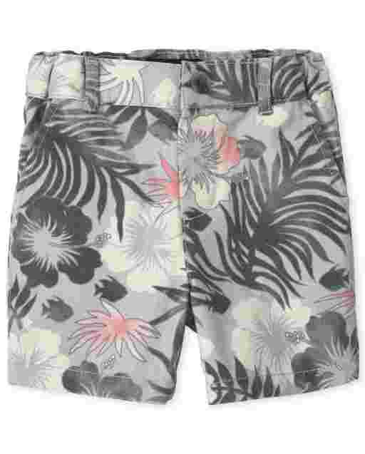 Baby And Toddler Boys Tropical Print Woven Chino Shorts