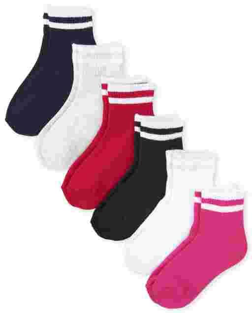 Girls Uniform Striped Midi Socks 6-Pack