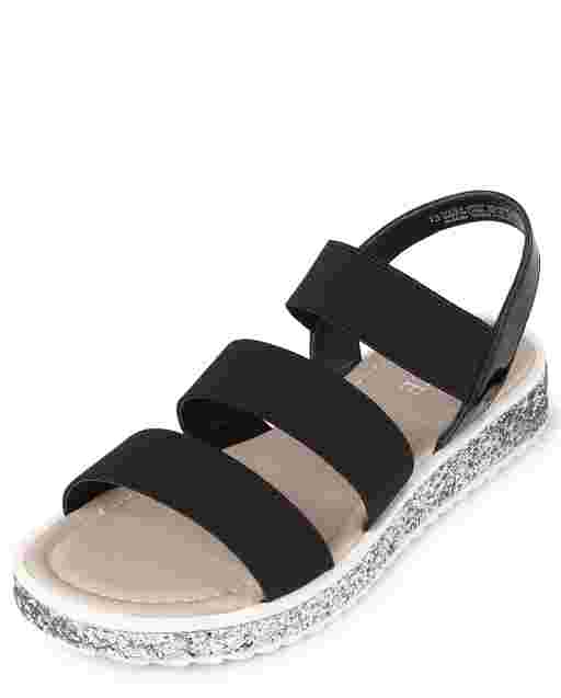 Girls Glitter Elastic Sandals