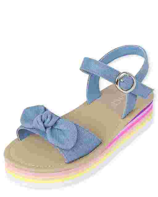 Girls Sparkle Denim Platform Sandals