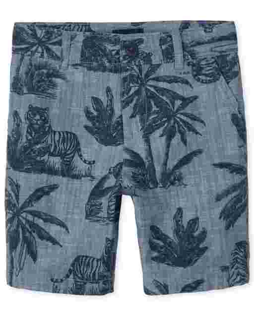 Boys Palm Tree Print Woven Chino Shorts