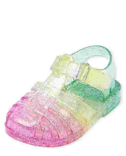 Sandalias de gelatina arcoíris para bebé niña