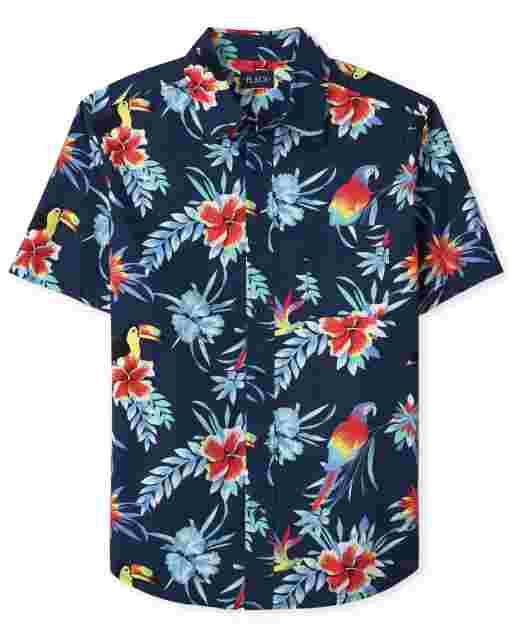 Mens Matching Family Short Sleeve Tropical Toucan Print Poplin Button Down Shirt