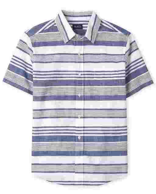 Mens Dad And Me Short Sleeve Striped Chambray Matching Button Down Shirt