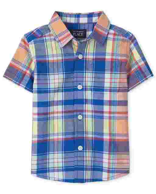 Baby And Toddler Boys Dad And Me Short Sleeve Plaid Poplin Matching Button Down Shirt