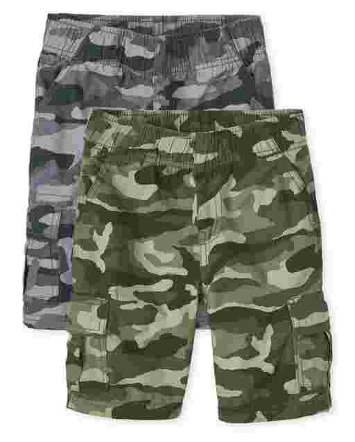 Boys Camo Woven Pull On Cargo Shorts