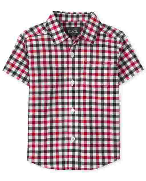 Baby And Toddler Boys Dad And Me Americana Short Sleeve Gingham Poplin Matching Button Down Shirt