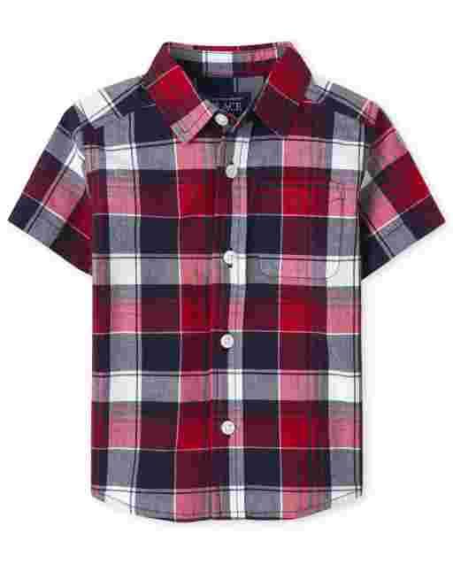 Camisa de popelina a cuadros de manga corta americana para bebés y niños pequeños