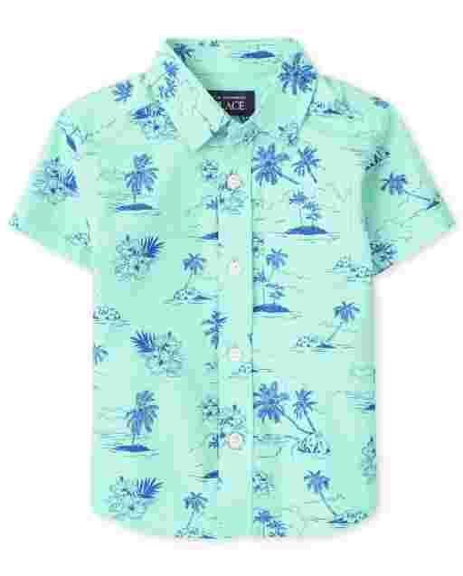 Baby And Toddler Boys Short Sleeve Palm Tree Print Poplin Button Down Shirt