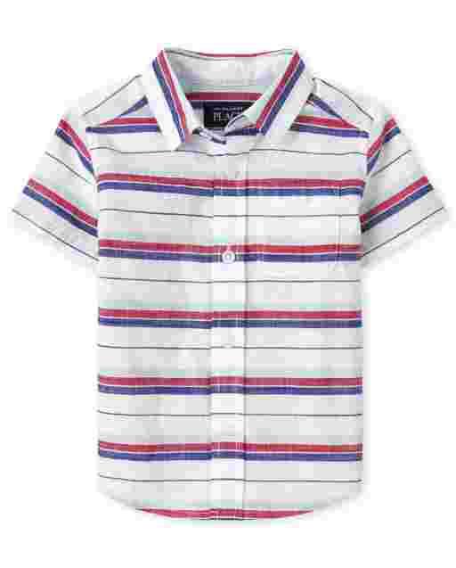 Camisa con botones de cambray a rayas de manga corta americana para bebés y niños pequeños
