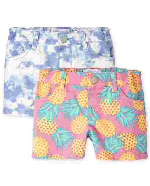 Toddler Girls Print Twill Shortie Shorts 2-Pack