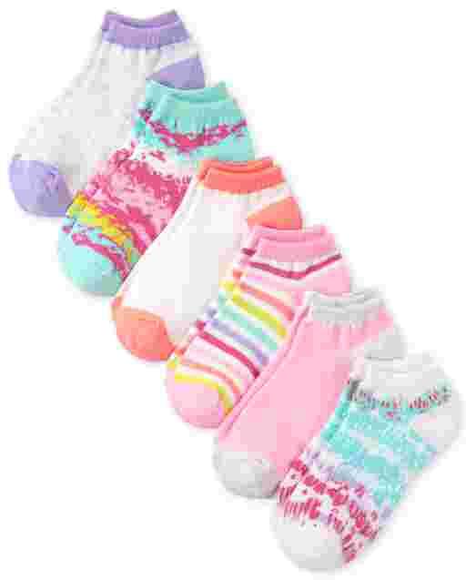 Girls Tie Dye Ankle Socks 6-Pack