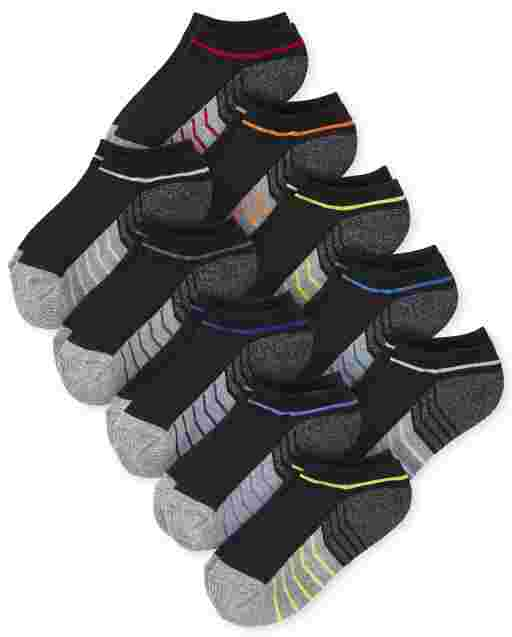 Toddler Boys Colorblock Cushioned Ankle Socks 10-Pack