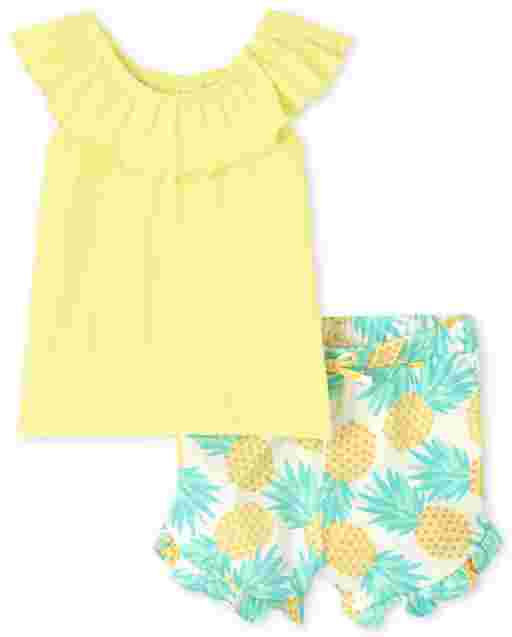 Toddler Girls Short Sleeve Floral Print Ruffle Top And Ruffle Shorts 2-Piece Set