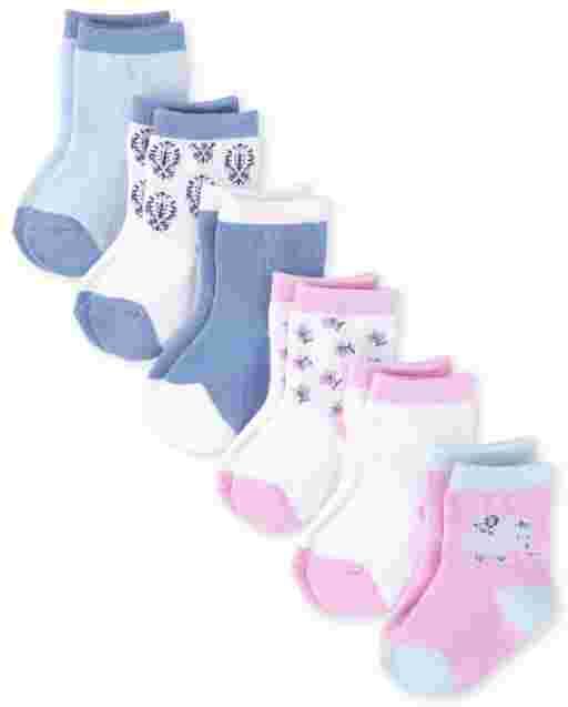 Baby Girls Floral Elephant Midi Socks 6-Pack