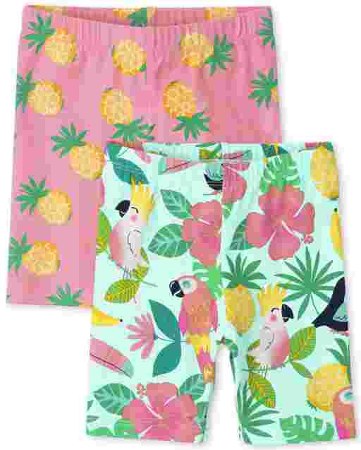 Toddler Girls Mix And Match Tropical Print Knit Bike Shorts 2-Pack