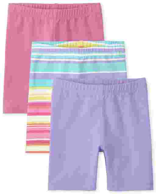 Toddler Girls Mix And Match Solid And Print Bike Shorts 2-Pack