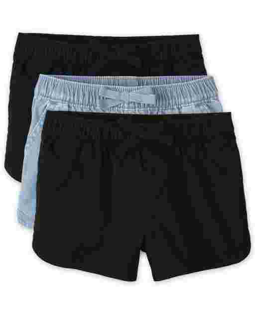 Toddler Girls Woven Pull On Shorts 3-Pack