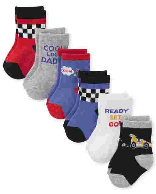 Baby Boys Race Car Midi Socks 6-Pack