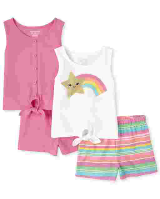 Toddler Girls Mix And Match Sleeveless Tie Front Top And Shorts 4-Piece Set